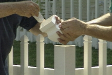 gluing finials to the vinyl picket fence posts