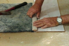 viewing sample transition/joint of laminate flooring and carpet