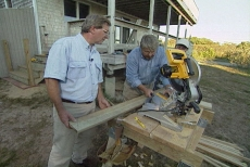 angling the porch stairway rails on the power miter box