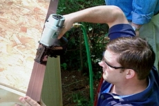 nailing drip cap to protect the solar garden shed roof