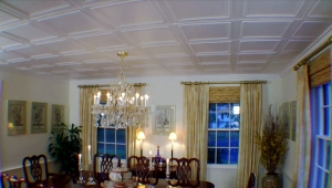 Decorative Ceiling Tiles in Dining Room