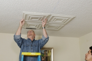 Foam Tiles Offer a Beautiful Way to Cover Up Out of Style Popcorn Ceilings