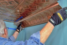 Installing copper ceiling tile cornice