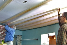 Putting up furring strips for copper ceiling tiles