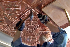 Nailing up copper metal ceiling tiles