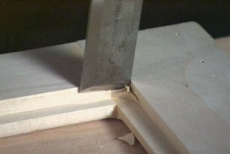 dressing the rabbet corners with a chisel
