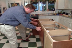 Covering the backside of cabinets with bead board