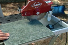 cutting tiles with wet tile saw