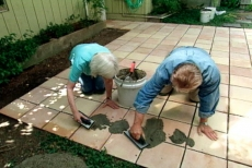 grouting the patio tile joints