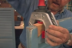 securing a one-handed face-frame clamp to hold the block