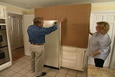 Using a cardboard mock-up to visualize cabinets
