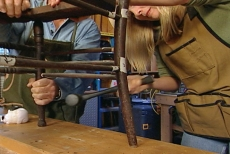 tapping antique chair joints with a dead-blow mallet