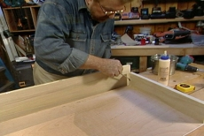 gluing the sliding drawers for the pull-out shelves