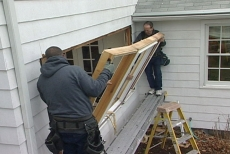 removing the window frame during the bay window installation