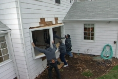 setting the bay window frame in place
