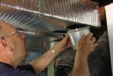 installing a round metal branch duct in the air conditioning system