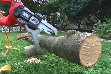 using an electric lopper on a tree