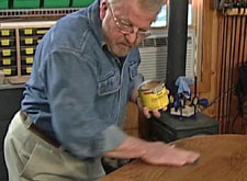 Applying Minwax Finishing Wax Paste to wooden table