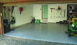 A concrete garage floor covered with Rustoleum's EpoxyShield