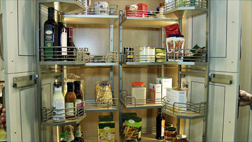 Hafele's kitchen pantry shelves that slide in and out